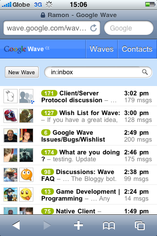 Google Wave on the iPhone